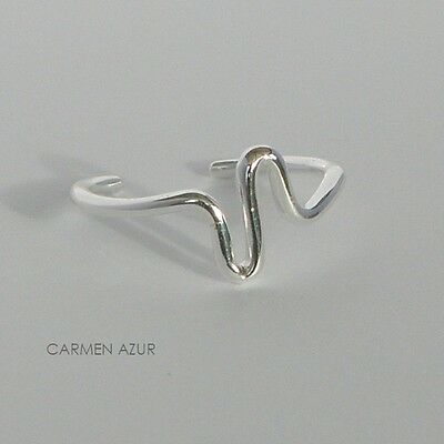Solid 925 Sterling Silver Toe Midi Ring Squiggle Design New Gift Bag Free UK P&P