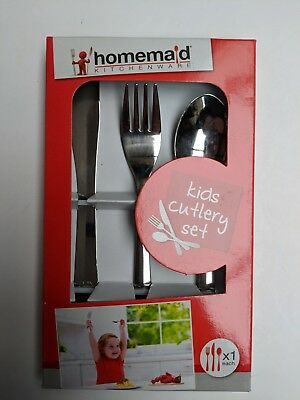 Childrens Cutlery Set Stainless Steel Knife Fork & Spoon Boxed Boy Girl