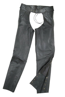 Fulmer Unisex Leather Motorcycle Chaps w/ Stretch Panel Mens Womens Ladies Biker