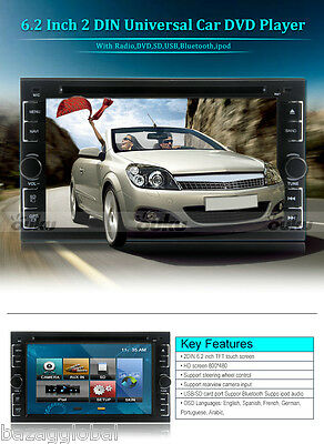 "6.2"" In-dash Car Stereo 2 Din Android CD DVD Player TV iPod Radio Bluetooth"