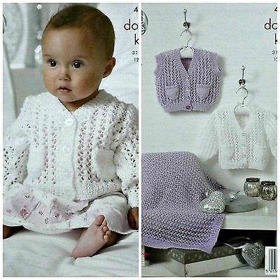 KNITTING PATTERN Baby Long Sleeve V-Neck Lacy Cardigan with Pockets DK 4397