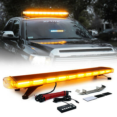 "Xprite 88 LED Amber 47"" Inch 28 Modes Roof Top Emergency Strobe LED Light Bar"