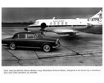 1970 Rolls Royce Silver Shadow & Airplane Factory Photo ca5051