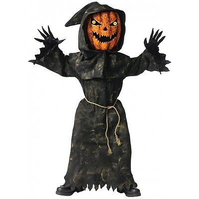 Bobble Head Pumpkin Costume Kids Scary Halloween Fancy Dress