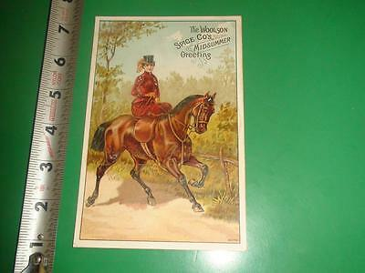 JE271 Vintage Victorian Trade Card Horse Lion Coffee Woolson Spice Co
