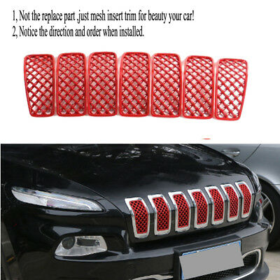 7pcs Front Grille Inserts Mesh Grill Cover Trim-Red fits Jeep Cherokee 2014-2018
