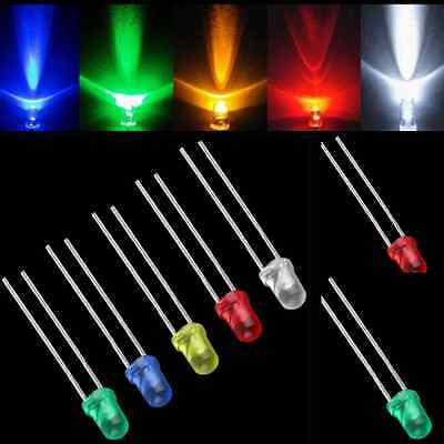 100pcs 3mm White Green Red Blue Yellow LED Light Bulb Emitting Diode Lamps hs