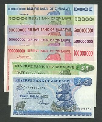 ZIMBABWE Select from $100 trillion billion million  Uncirculated  Banknotes