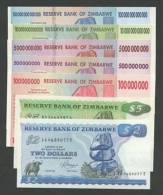 ZIMBABWE Select from $100 trillion, billion, million  Uncirculated  Banknotes