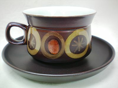 """Denby Arabesque Large Breakfast Cup & Saucer 4"""" dia Excellent Condition [A]"""