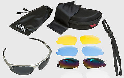 CHEX Ace Hunting Sports Sunglasses 5 Interchangeable Lenses Inc Rainbow & Clear