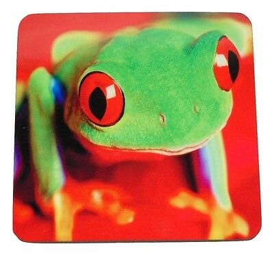 Green Tree Frog Crew Coasters Size 3.75 X 3.75 Hard Surface Cork Back New