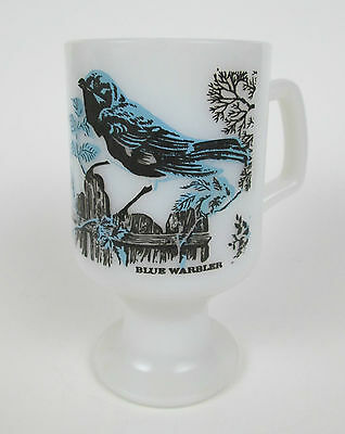 Vintage Blue Warbler Milk Glass Coffee Tea Cup Mug