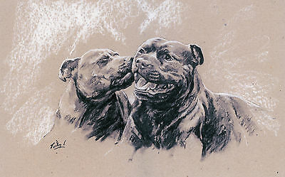 """STAFFORDSHIRE BULL TERRIER STAFFIE DOG LIMITED EDITION PRINT - """"Stealing a Kiss"""""""