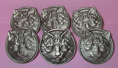 Vintage Style Hardware Pewter Drawer Pulls Knobs Cats Face Head Kitty Cat Set(6)