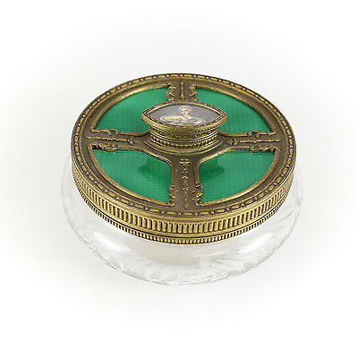 Continental Hand Painted Gilt Bronze Emerald French Glass Powder Bowl c1900