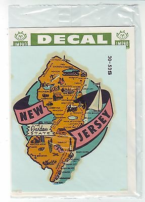 1950s-1960s ROADSIDE - TRAVEL DECAL-NEW JERSEY State MAP in  Original Envelope
