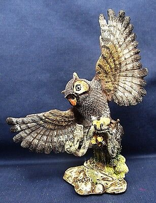 Great Horned Owl catching a Snake Southwest Wildlife Figurine