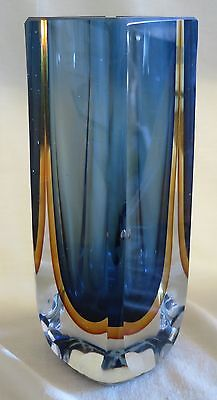 "Large Murano Sommerso Faceted Glass Blue Gold Color Vase 8 1/8"" Tall"