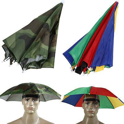 Foldable Umbrella Sun Hat Cap Golf Travel Outdoor Camping Beach Fishing Hunting