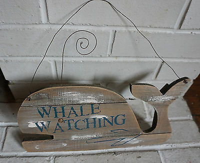 1 FT Rustic Reclaimed Weathered Wood Whale Watching Arrow Beach Home Decor Sign