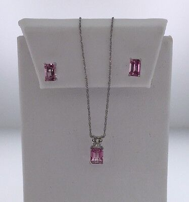 10K White Gold Emerald Cut Pink Topaz Necklace And Earrings Set 2 Ctw