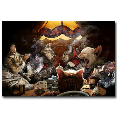 Cats Playing Poker Singing Smoking Funny Silk Poster 12x18 24x36inch