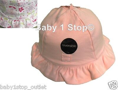Baby Girls Pink & White Reversible Sun Hat Soft Cotton 0-6 or 6-12 Months