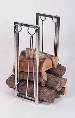 "Polished Stainless Steel ""Thorrum Grange"" Companion Set with Log Holder"