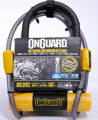 OnGuard Bulldog Medium DT 8015M Bicycle U-Lock & 4' Cable with 5 Keys