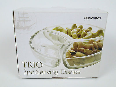 Bowring Trio 3 Piece Clear Glass Serving Dishes NEW
