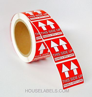 """4 Rolls  ; 500 Labels 2x2 (2"""" x 2"""") Pre-Printed This Side Up Labels/Stickers"""
