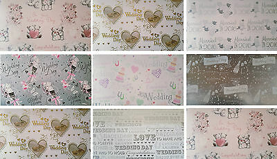 Wedding Wrapping Paper 2 Sheets + 1 Matching Gift Tag  7 Designs