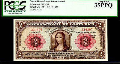 "COSTA RICA P167 FAMED ""MONA LISA"" 1932 2 COLONES GRADED PCGS 35PPQ! Da Vinci"