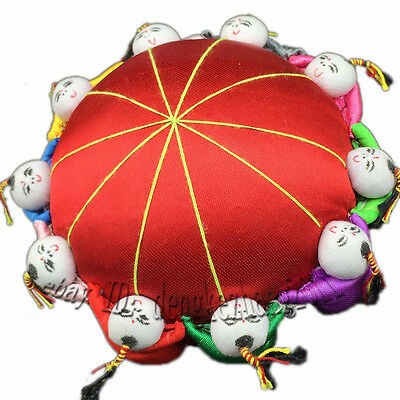 Wholesale 5pcs Classic Chinese Handmade Vintage Silk Pin Cushion With10Cute Kids