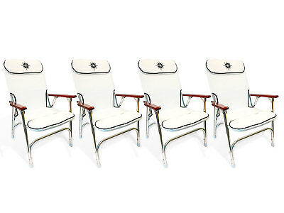 Marine Padded Deck Chair for Boat - Anodized Aluminum - Set of 4 -  Five Oceans