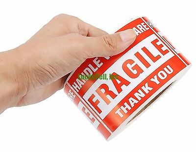 4000 2x3 FRAGILE HANDLE WITH CARE Stickers, Easy Peel and Apply 4 Rolls 1000/PR