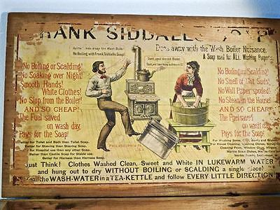 FRANK SIDDALS advertising sign wood box colorful wash soap vintage general storE