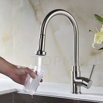 Kitchen Sink Basin Pull out Mixer Tap Faucet Brass 360 Swivel Spout Chrome NSW