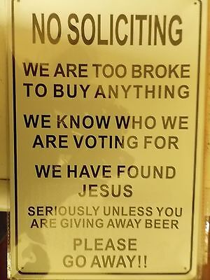 no soliciting  tin metal sign MAN CAVE brand new
