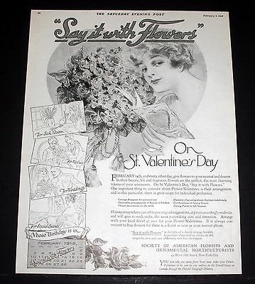 1918 Old Magazine Print Ad, Society Of American Florists, St. Valentines Art!