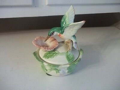 Estate Find Beautiful Signed Fitz And Floyd Hibiscus Hummingbird Lidded Dish