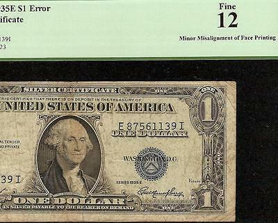 1935 E $1 Dollar Bill Misalignment Error Silver Certificate Note Currency Pcgs