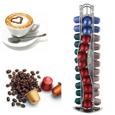 Revolving Rotating 40 Coffee Capsule Pod Holder Tower Stand Rack for Nespresso