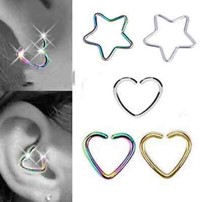 10PCS Daith Stainless Steel HEART Ring Helix Tragus Piercing Hoop Ear Cartilage