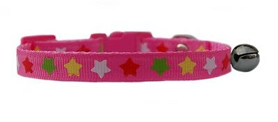 "pink red green yellow white  ""Star's ""   safety kitten cat collar 3 sizes"