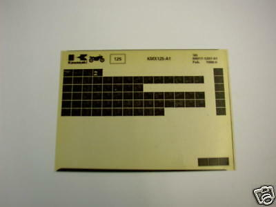 Kawasaki Kmx125 Kmx 125 Gen Part Catalogue Microfiche