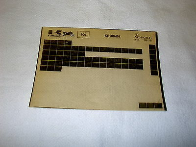 Kawasaki Ke100 Ke 100 B6 Gen Part Catalogue Microfiche