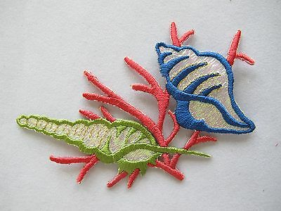 #4206 Underwater,Ocean Sea Conch,Coral Embroidery Iron On Applique Patch