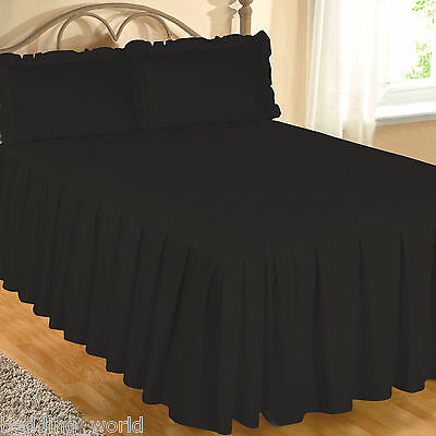 Black Fitted Bedspread Set Pillow Shams Quilted Egyptian Cotton 200 Thread Count